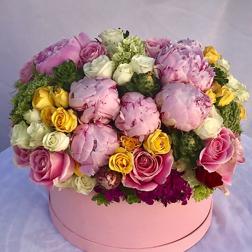 Color Blend Magic - Peonies, Roses, Spray Roses, Baby Hydrangeas & Mixed Greenry