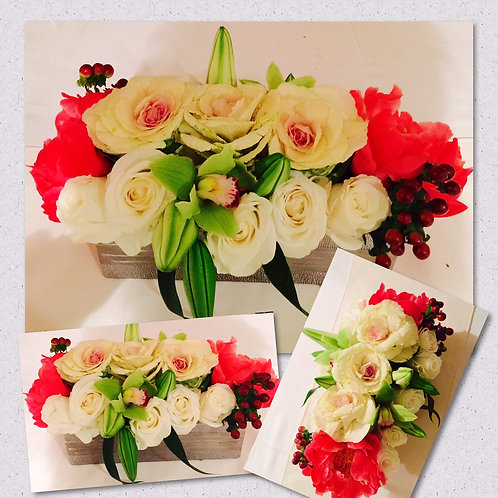 Kale, Peonies, Roses, Lilies and Orchids