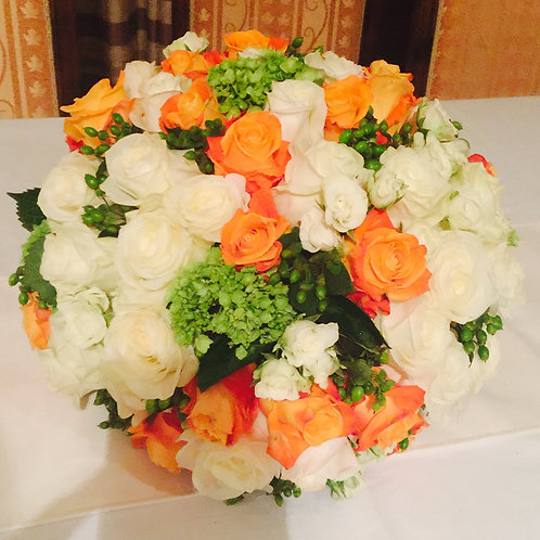 Orange and White Roses, Spray Roses and Hydrageas