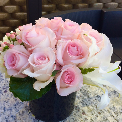 Pink Roses with Hydrangea and Lily Accents