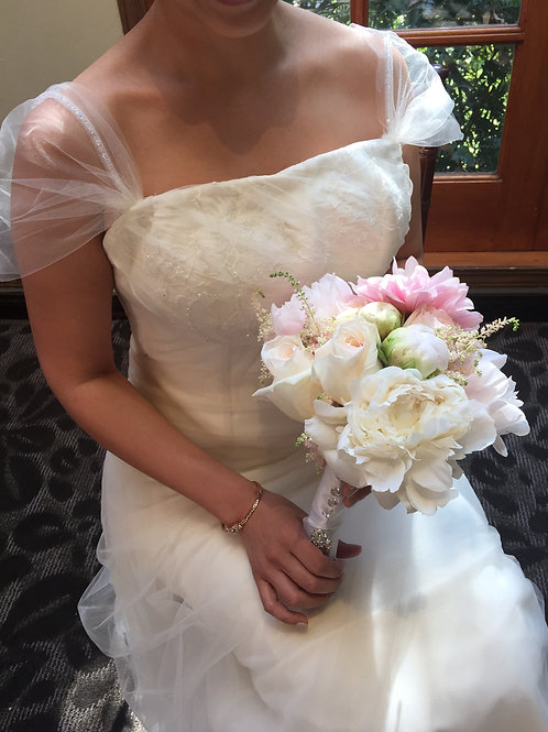 Blush Beauty Bridal Bouquet-Peonies, Garden Roses