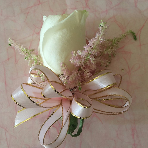 Blush Corsage-Blush Rose with Pink Astilbe