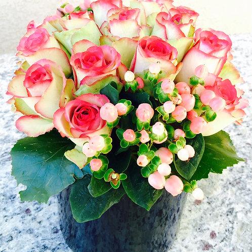 Rose Bloom - Bi-Color Pink Roses and Pink Berries