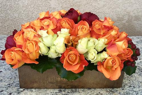 Autumn Blast-Orange Roses, Calla Lilies + Peonies
