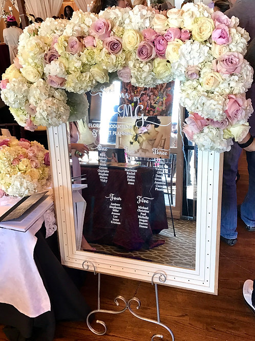 Mirror Seating Chart - Framed with Floral Beauties
