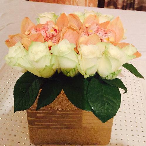 Miniature White Roses and Orange Cymbidium Orchids