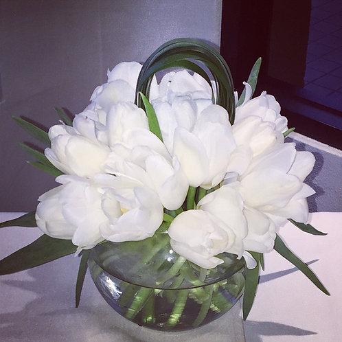 White Tulips  Bowl