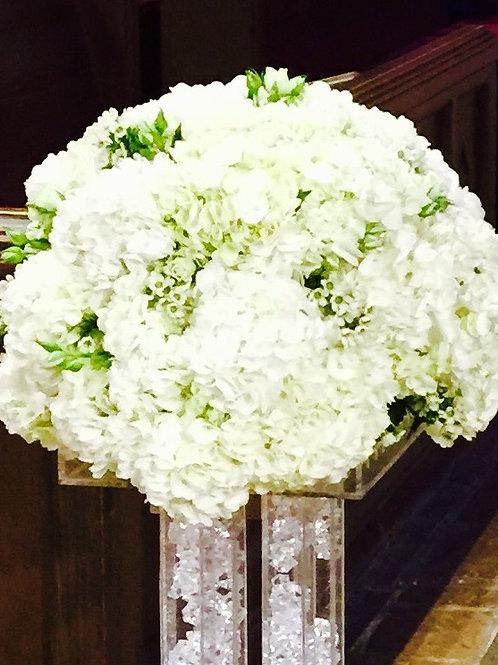 Hydrangeas; Spray Roses and White Wax Flower