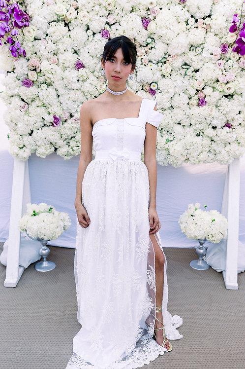 Lace Skirt Front Slits One Shoulder