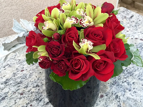 Rose Orchid Bloom - Red Roses and Orchids