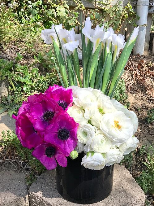 Rasberry Anemone, White Ranunculus and White Iris