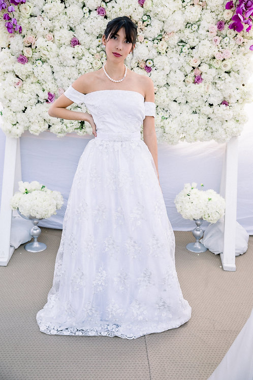 Gacitua - Glowhite - Floral Off The Shoulder Lace Gown