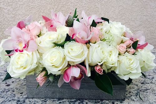 White Roses, Pink Spray Roses and Pink Cymbidiums