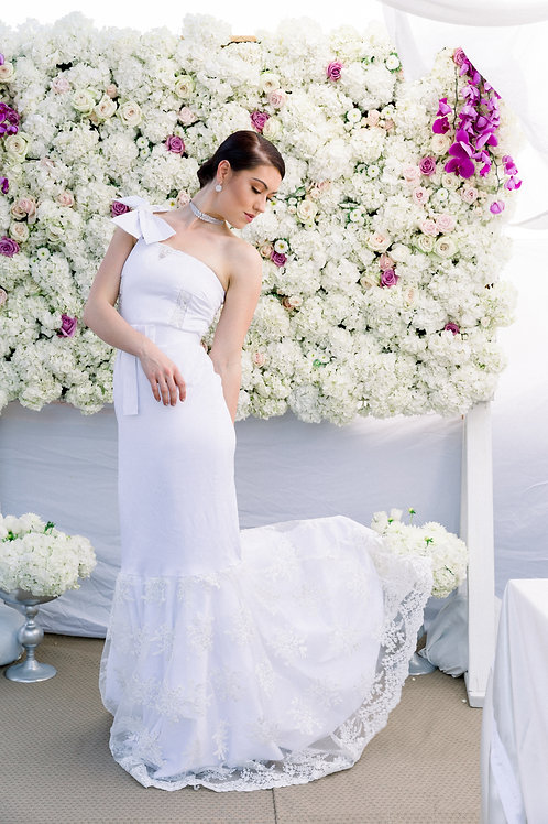 One Shoulder Bow Gown