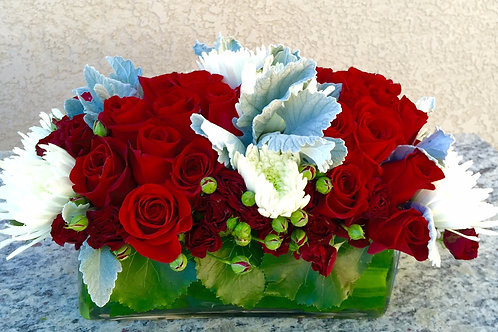 Roses, Spider Mums, Dusty Miller and Spray Roses