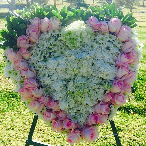 Delicate Funeral Heart Shaped Wreath (Large)