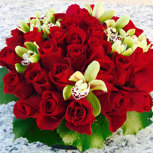 Red Rose Bowl - Red Roses Topped with Orchids