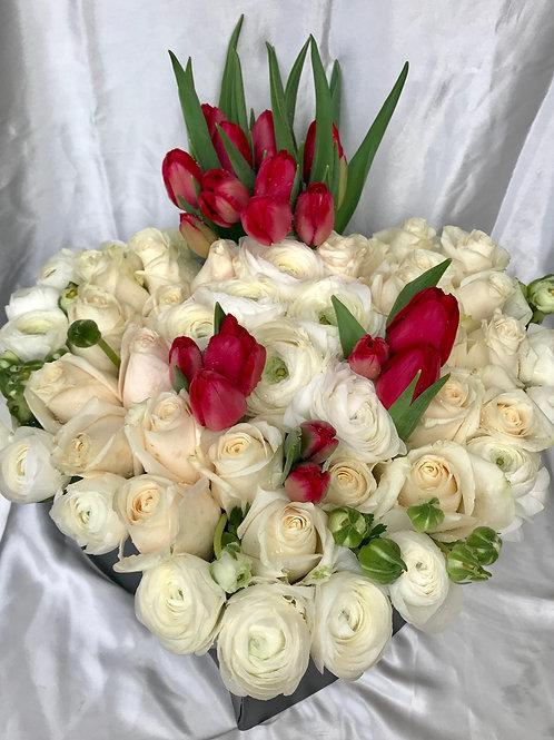 Heart Tug--Ranunculus, Roses and Tulips