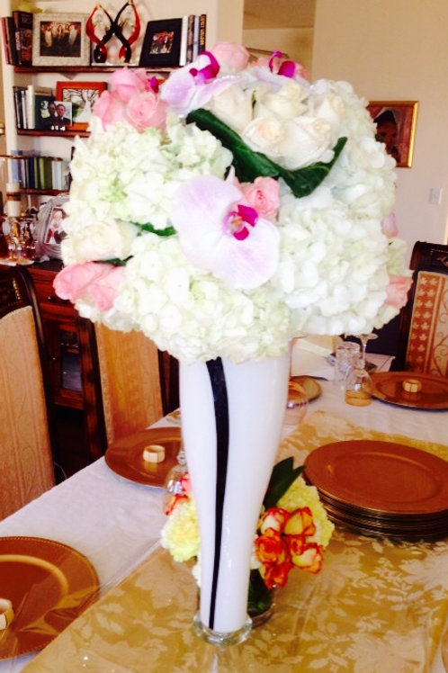 White Hydrangea Ball with Roses and Orchids