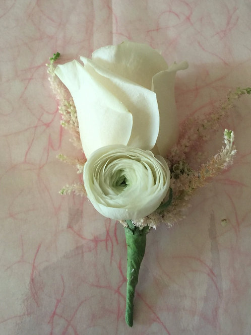 Groom's Boutonniere-Garden Rose, Ranunculus