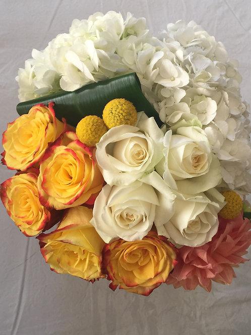Orange Roses, White Roses, White Hydrangeas, Dahlia and Craspedia Balls