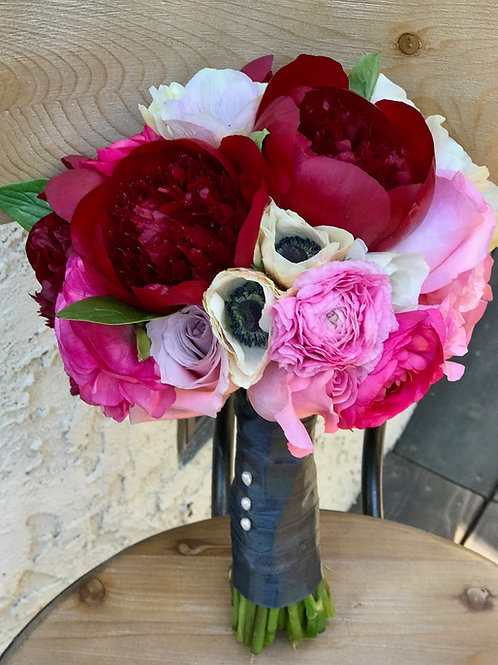 Bold Bridal Bouquet - Peonies, Anemone, Ranunculus and Roses