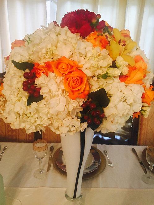 Hydrangeas, Roses, Spray Roses, Peony + Hypericum