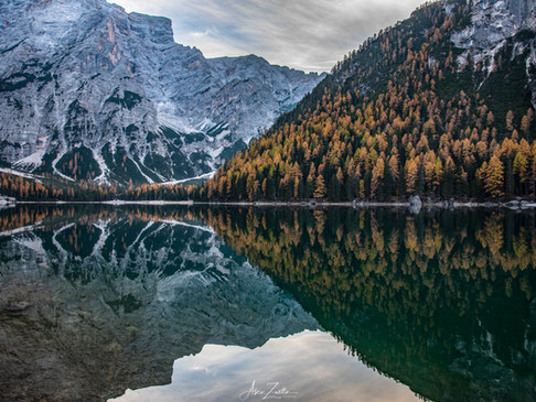 Braies lake reflextion