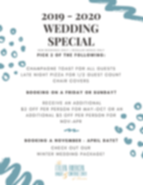 Book your 2019-2020 Wedding with the Italian American Banquet Center and Receive 2 of the Followng Great deals. Also, book on a Friday or Sunday and receive at least $2.00 off per person!