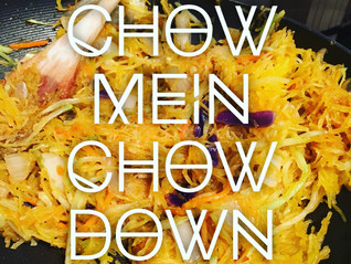 Spaghetti Squash Chow Mein with Orange Chicken