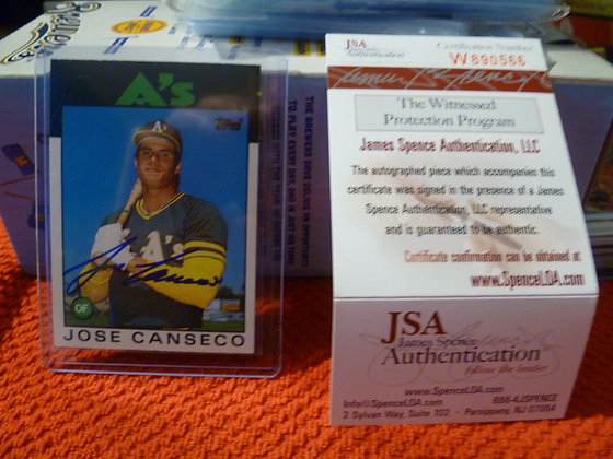 Jose Canseco Autographed 1986 Topps Traded RC JSA