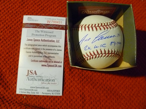 Jose Canseco Autographed Ball w/ JSA & WS Inscrip