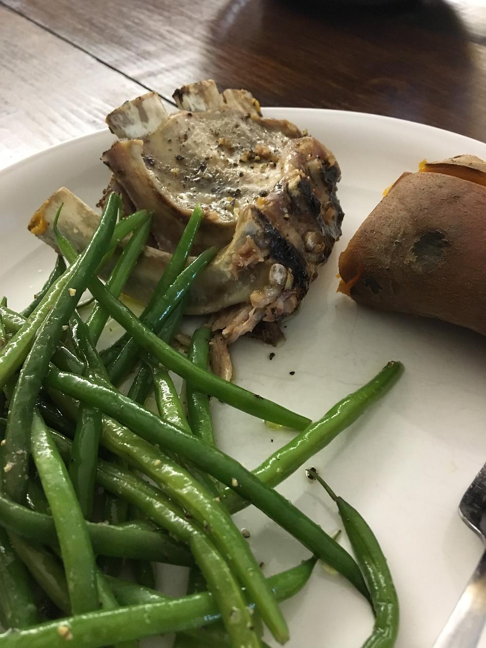 pork ribs and green beans