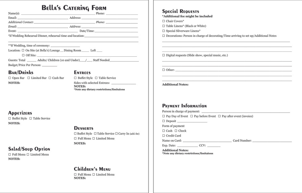 Bella's Catering Form