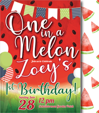 One in a Melon Zoey Birthday Invitation-