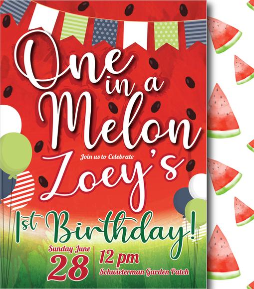 One in a Melon Zoey Birthday Invitation-