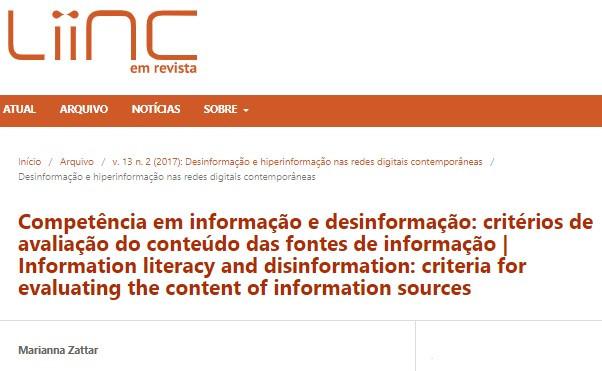 Competência em informação e desinformação: critérios de avaliação do conteúdo das fontes de informação