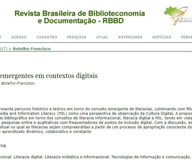 Literacias emergentes em contextos digitais