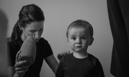 Rodinná fotografie matky a syna