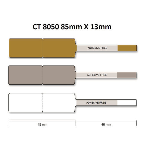 CT8050 - Polyester thermal transfer jewelry labels (13mm x 85mm) roll of 2,000