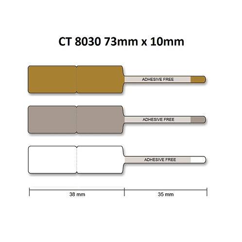 CT8030 - Polyester thermal transfer jewelry labels (10mm x 73mm) roll of 2,000