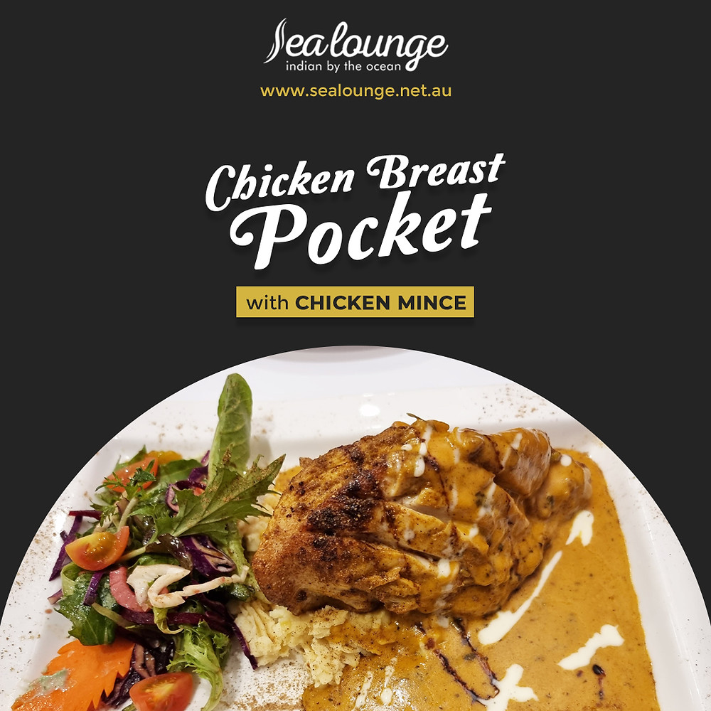 We present the best Chicken Breast Pocket with Chicken Mince in Glenelg, SA! Book your table now or contact Sea Lounge for more information!