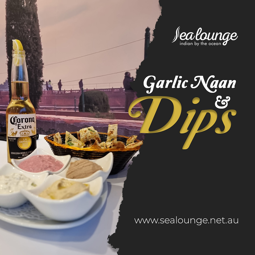 Enjoy your garlic naan with our best Greek dips! Book your table now or contact Sea Lounge for more information!