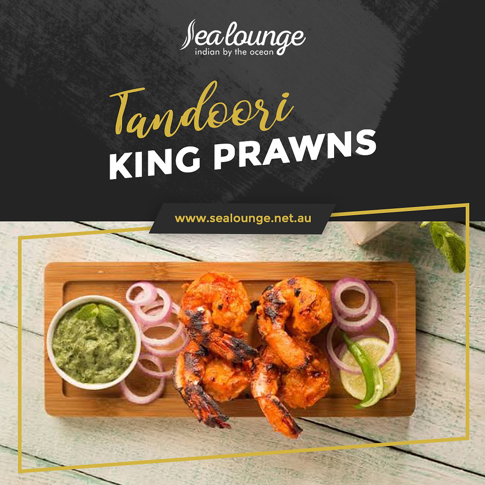 Enjoy our Tandoori King Prawns, the perfect appetiser for you! Book your table now or contact Sea Lounge for more information!