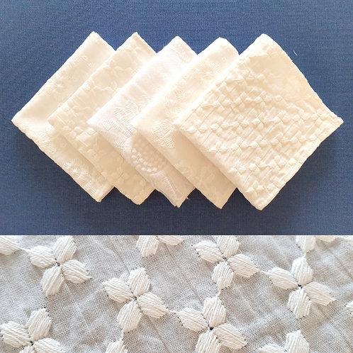 Mouchoirs en tissu coton blanc lavable zéro déchet