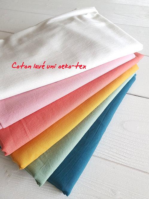 Tissus coton lavé uni au mètre Oeko-tex