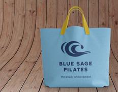 Branded Mockup Blue Sage Pilates logo tote bag design