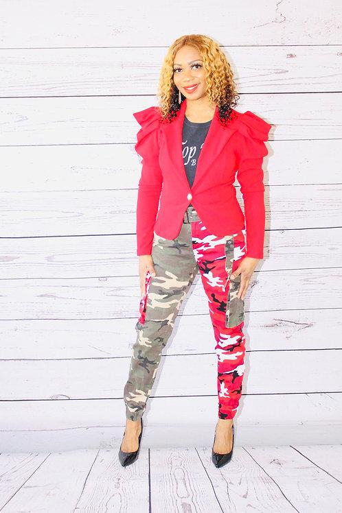 Red Chic Puff Sleeve Blazer