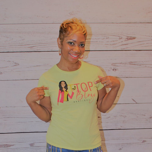 Yellow Blazing T Top Fitted Tees