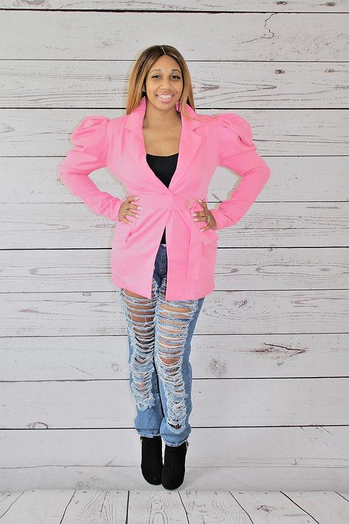 Queen Pink Puff Sleeve Blazer